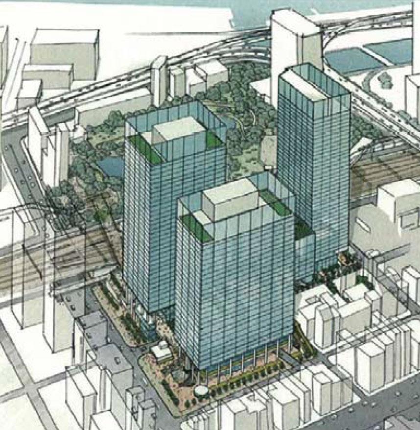 浜松町西地区再開発事業B街区に建設予定のオフィスビルのイメージ