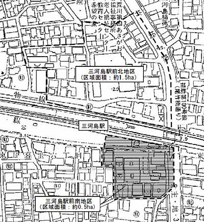 三河島駅前南地区第一種市街地再開発事業 エリア図