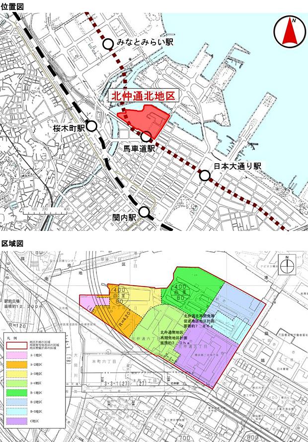 北仲通北再開発等促進地区地区計画 区域図