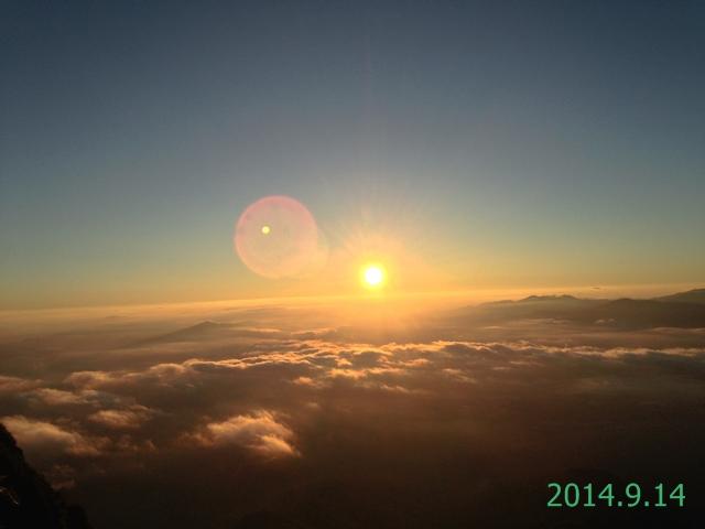 赤岳山頂からみた御来光 2014.9.14