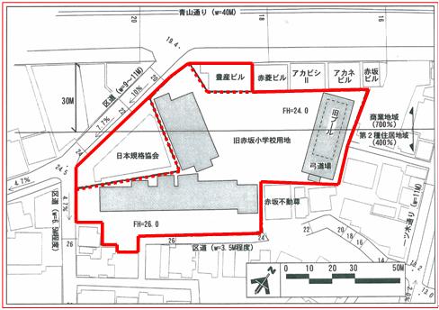 「旧赤坂小学校跡地・周辺地区活用事業」 エリア図