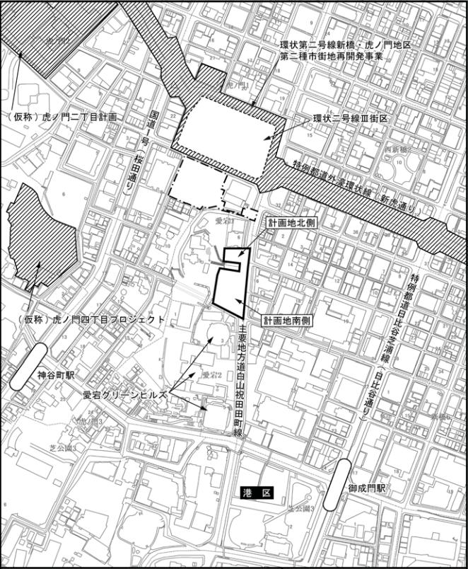 「(仮称)愛宕山周辺地区(F・G地区)開発事業」 エリア図