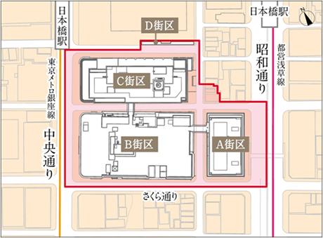 日本橋二丁目地区第一種市街地再開発事業 街区図