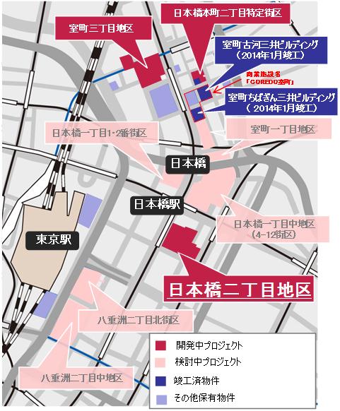 日本橋二丁目地区第一種市街地再開発事業 エリア図