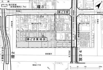 「勝どき東地区第一種市街地再開発事業」 配置図 (出典:東京都都市整備局)
