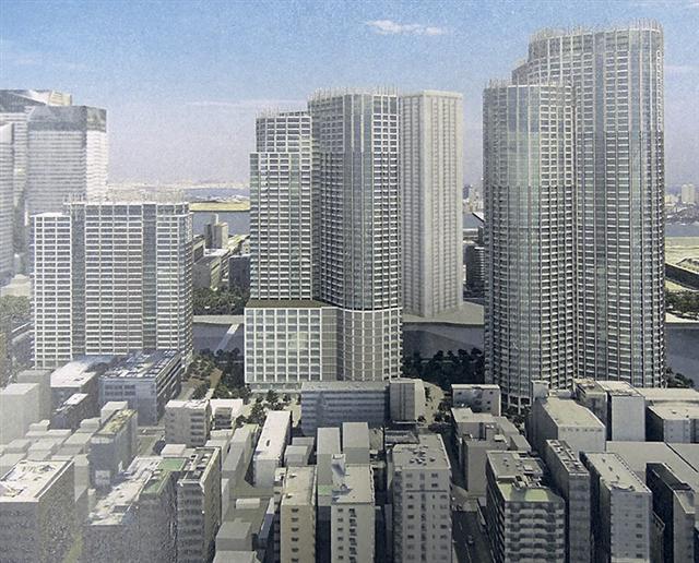 「勝どき東地区第一種市街地再開発事業」 イメージ図 (出典:建築通信新聞)