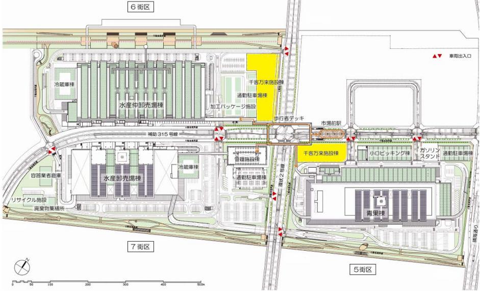 豊洲新市場 配置計画 (出典:東京都)