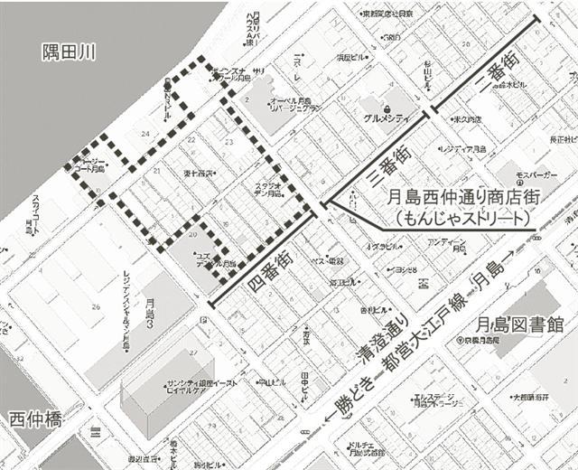 月島三丁目地区再開発 エリア図 (出典:建設通信新聞)