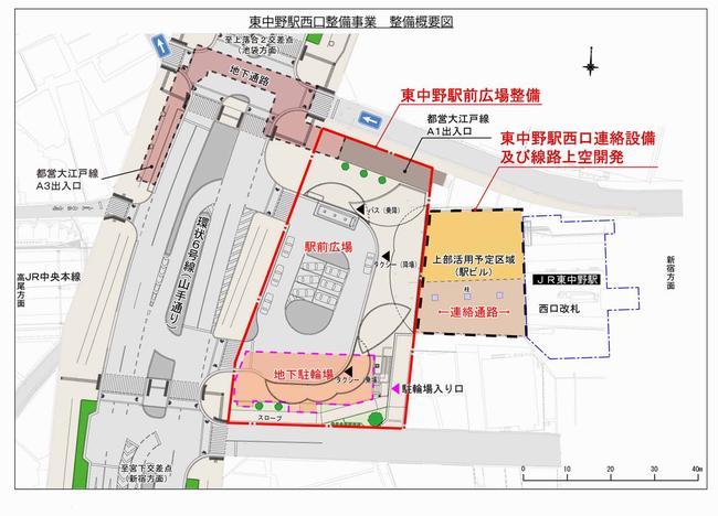 東中野駅西口整備事業 (出典:中野区)