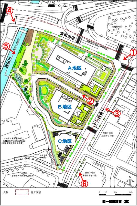 西新宿五丁目北地区防災街区整備事業 配置計画(案)