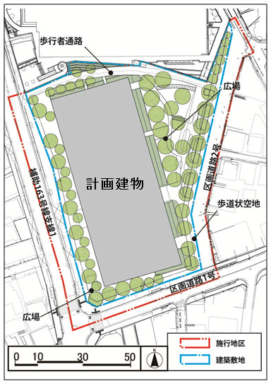 「大井一丁目南第1地区市街地再開発」 配置図 (出典:東京都)