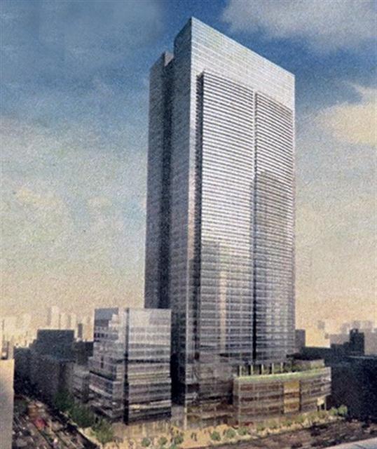 「(仮称)八重洲二丁目北地区第一種市街地再開発事業」 イメージ図 (出典:建設通信新聞)