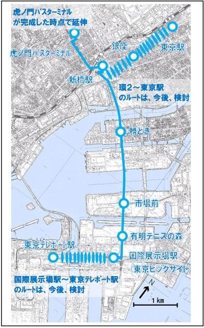 BRT ルート案 幹線ルート (出典:東京都)