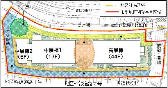「白金一丁目東部北地区第一種市街地再開発事業」 配置図 (出典:東京都)