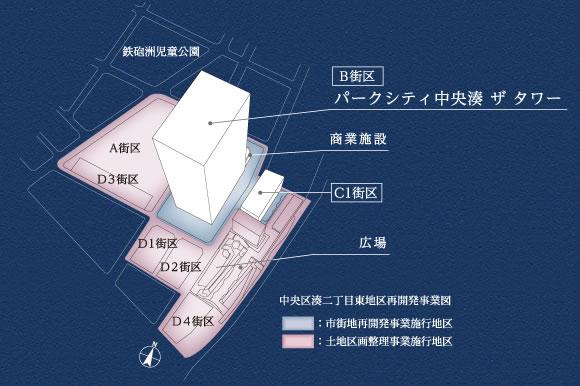 「パークシティ中央湊 ザ タワー」 配置図 (出典:三井不動産)